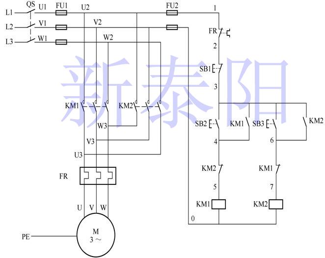 接触器互锁控制电路实现电机正反转